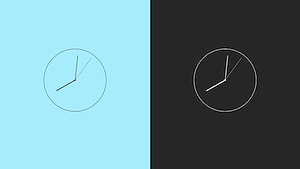 Modern minimalistic flat analog clock with css js and startup animation