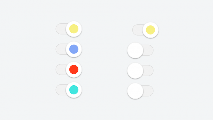 Colourful flat material style slide checkbox and radio inputs